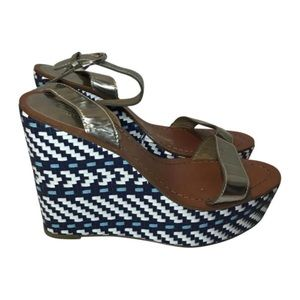 Coach Blue, White & Silver Wedges Size 9